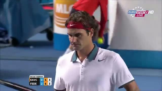 Roger Federer Vs Blaz Kavcic TIE BREAK Australian Open 2014 FULL HD