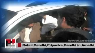 Rahul Gandhi and Priyanka Gandhi interact with people