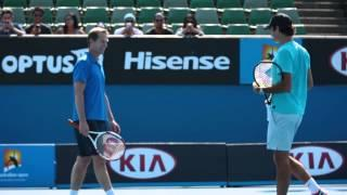 Roger and Rafa warming up - 2014 Australian Open Video