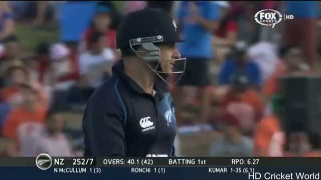 Bhuvneshwar Kumar Perfect Yorker to Nathan McCullum - IND vs NZ  2nd ODI - 22 Jan 2014