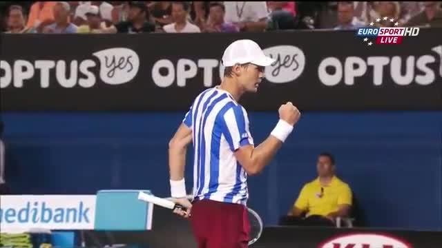 Stanislas Wawrinka Vs Tomas Berdych Australian Open 2014 1th TIE BREAK SF HD Video