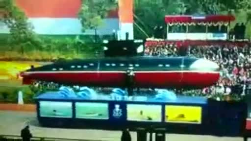 Indian Navy's submarine at 65th Republic Day parade 2014 Video