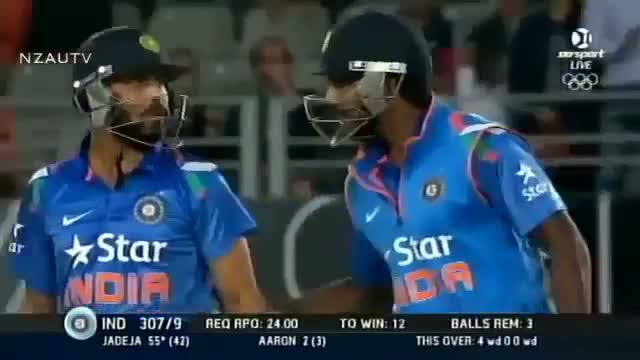 Ravindra Jadeja 66 Runs in 45 Balls vs New Zealand - India vs New Zealand 3RD ODI Highlights - 25 January 2014