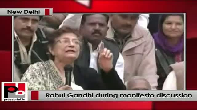 Rahul Gandhi interacts with labour union representatives in Delhi on Congress manifesto