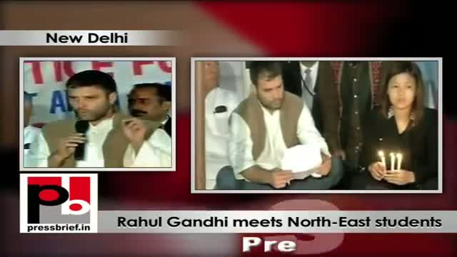 Rahul Gandhi meets North East protesters at Jantar Mantar (New Delhi)