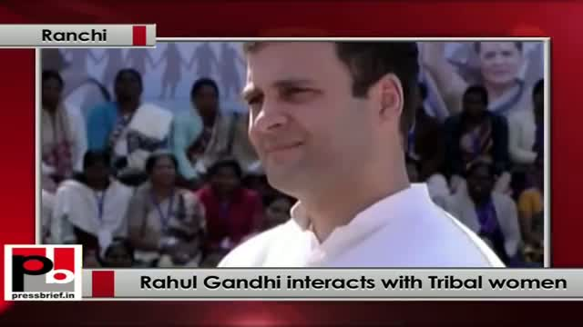 Rahul Gandhi in Ranchi interacts with tribal women from Jharkhand