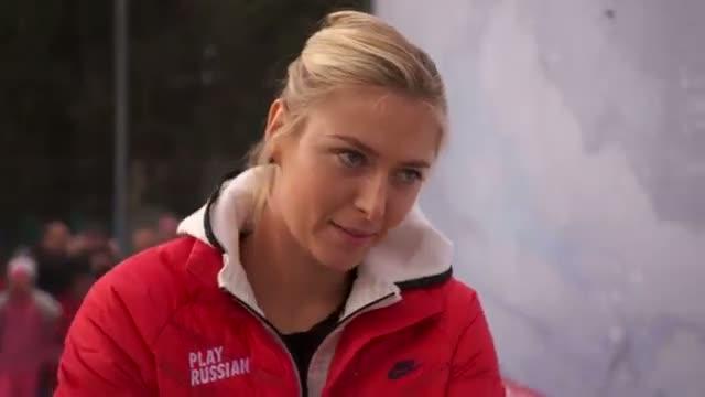 Maria Sharapova Translates Sochi Tennis Court Mural Video