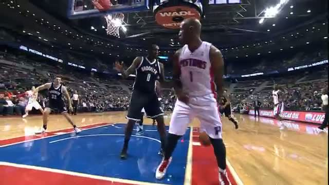 NBA: Chauncey Billups Throws the Around the Back Pass for the Andre Drummond Dunk
