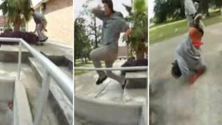 Skater Tries To Ollie Over Railing, Faceplants Instead