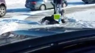 Guy Laughing At Kids Slipping On Ice