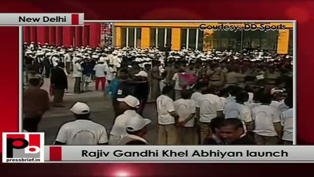 Rahul Gandhi at the launch of Rajiv Gandhi Khel Abhiyan at Jawaharlal Nehru Stadium, New Delhi
