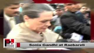 Sonia Gandhi interacts with women, local people in Raebareli
