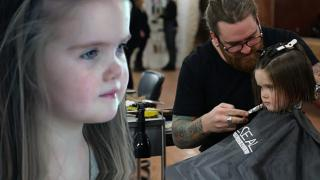 Three year old Emily James Donate her hair for a wig to help make someone else's life a little easier.
