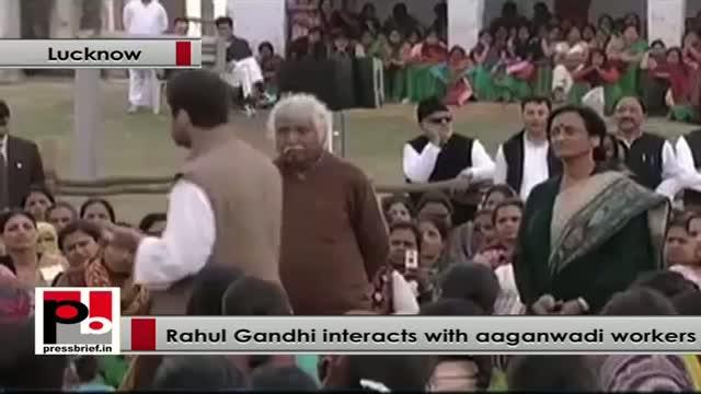 Rahul Gandhi visits UP, interacts with Aanganwadi workers at Chinhat