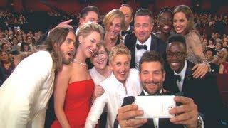Ellen DeGeneres Group SELFIE at Oscars 2014 with Jennifer Lawrence, Brad Pitt, Meryl Streep