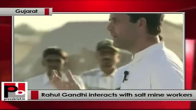 Rahul Gandhi interacts with pan salt mine workers in Kharghodra, Gujarat