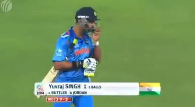 ICC T20 World Cup 2014 - Yuvraj Singh Wicket - Ind vs Eng (Full Match Highlights) - Warm Up Match