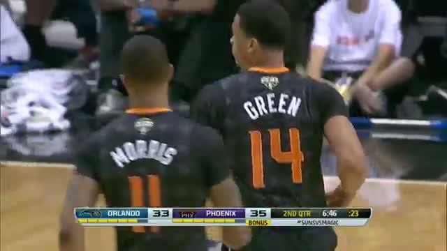 NBA: Gerald Green Drives Baseline for the MONSTER Reverse Slam