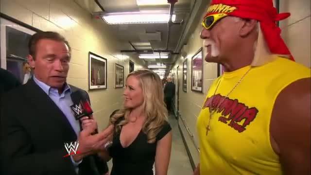 "Hulk Hogan, Arnold Schwarzenegger and his ""Sabotage"" co-star, Joe Manganiello, talk about their Expe: WWE Video"