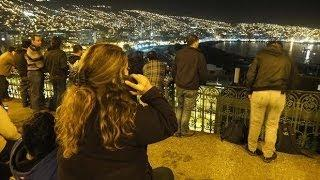 Chile Earthquake 2014 - Moment people wating for tsunami video