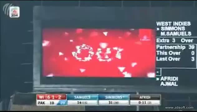 WEST INDIES INNINGS WICKETS - Pakistan vs West IndiesT20 World Cup 2014 - WI V PAK T20 (Cricket Video)