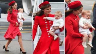 Kate Middleton Wears Scarlet Coat, Prince George Sports Shorts, as Royal Family Lands in New Zealand
