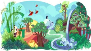 Rufous hummingbird featured in Google's Earth Day 2014 doodle