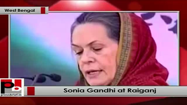 Sonia Gandhi addresses rally at Raiganj, (West Bengal)