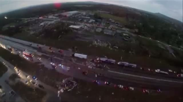 Aerial View of Arkansas Tornado Damage