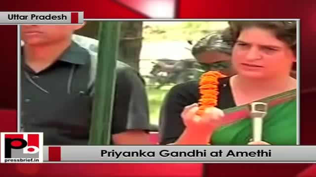 Priyanka Gandhi in Amethi (UP) lists out development works done by Rahul Gandhi