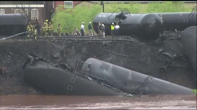 Tanker Cars Catch Fire on Derailed Va Train