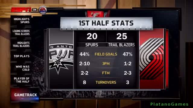 NBA Live 14 Playoffs - San Antonio Spurs vs Portland Trail Blazers - Game 4 - Halftime Show - HD