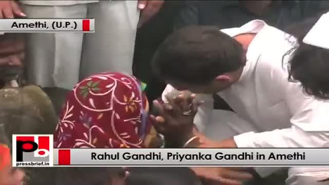 Rahul Gandhi, Priyanka Gandhi visit fire-hit Jamo area in Amethi