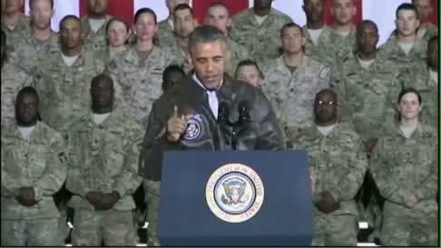 Obama Surprises Troops In Afghanistan On Memorial Day Weekend 2014 - Full speech