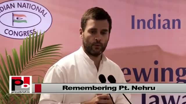 "Rahul Gandhi speaking at a seminar ""Renewing India's Commitment to Jawaharlal Nehru's Vision"""