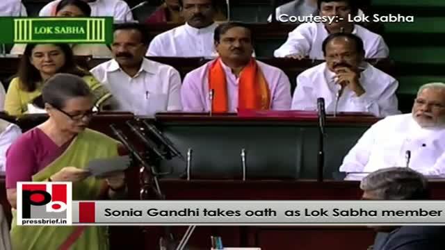 Congress President Sonia Gandhi takes oath as Lok Sabha member