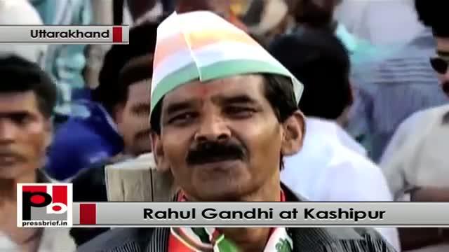 Rahul Gandhi speaks at a Congress election rally at Kashipur, Uttarakhand