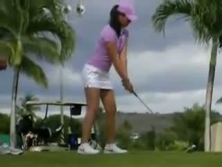 Michelle Wie Short Skirt Set Up Golf Swing. $exy Michelle Wie