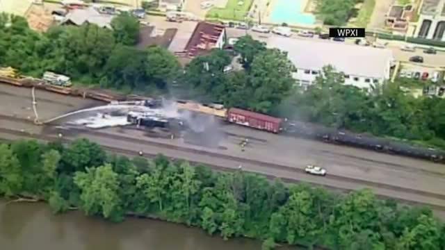 Train Derails, Catches Fire Near Pittsburgh