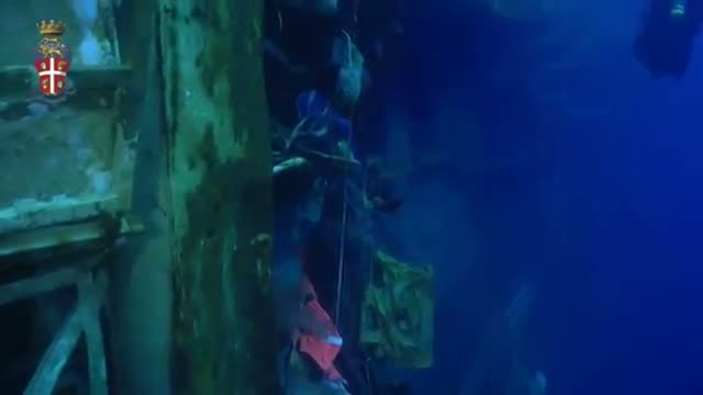 Underwater Video Shows Capsized Cruise Ship