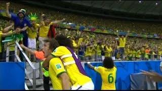 David Luiz Goal - Brazil vs Colombia 2-0 - FIFA World Cup 5.7.2014