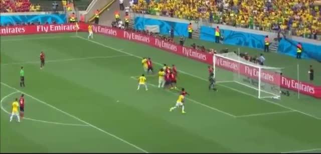 Thiago Silva FLUKE Goal vs Colombia - Brazil vs Colombia 1-0 04 07 - FIFA World Cup 2014 Brazil
