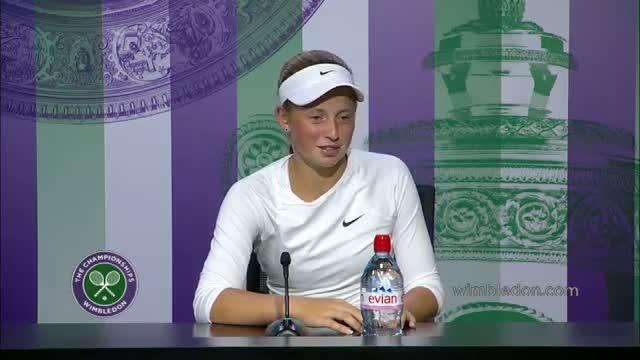 2014 Girls' Singles Champion Jelena Ostapenko Press Conference - Wimbledon 2014