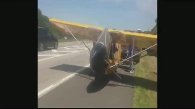 Plane Lands on New York Highway