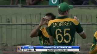 Imran Tahir gets 2 set batsmen (Sl vs SA 2nd ODI 2014)