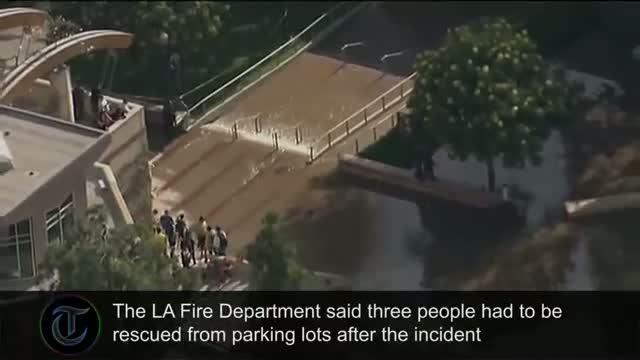 Burst water main in Los Angeles floods UCLA campus and Sunset Boulevard