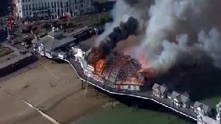 Aerial footage: iconic pier in Eastbourne, UK goes up in Smoke