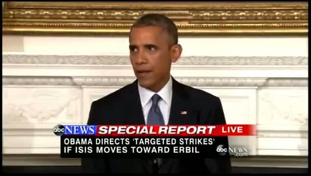 Obama Authorizes Airstrikes in Iraq - Obama Authorizes Airstrikes Against ISIS 8/8/2014 ( FULL )