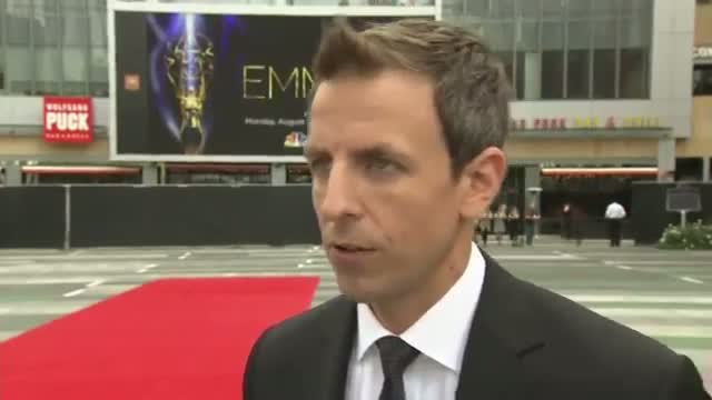 Seth Meyers Rolls Out Emmy Red Carpet