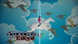Aerial Animation: Duo Flies Around On a Magical Horse - America's Got Talent 2014